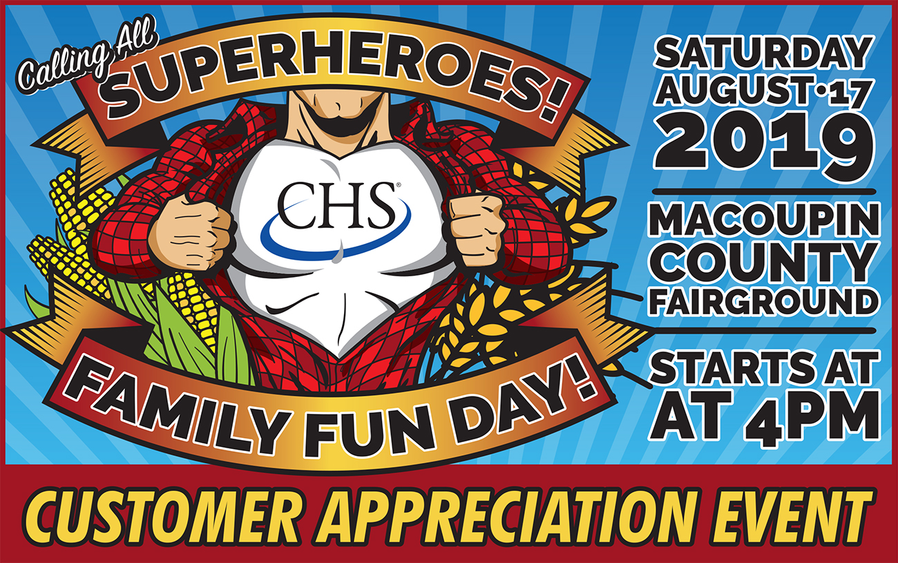 Calling All Superheroes - CHS Shipman Customer Appreciation Event on Saturday, August 17, 2019 at the Macoupin County Fairground. Starts at 4 pm.
