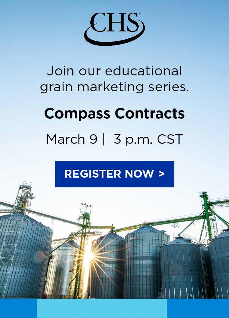 Register now for our educational grain marketing series: Compass Contracts. March 9 at 3 pm Central Standard Time.