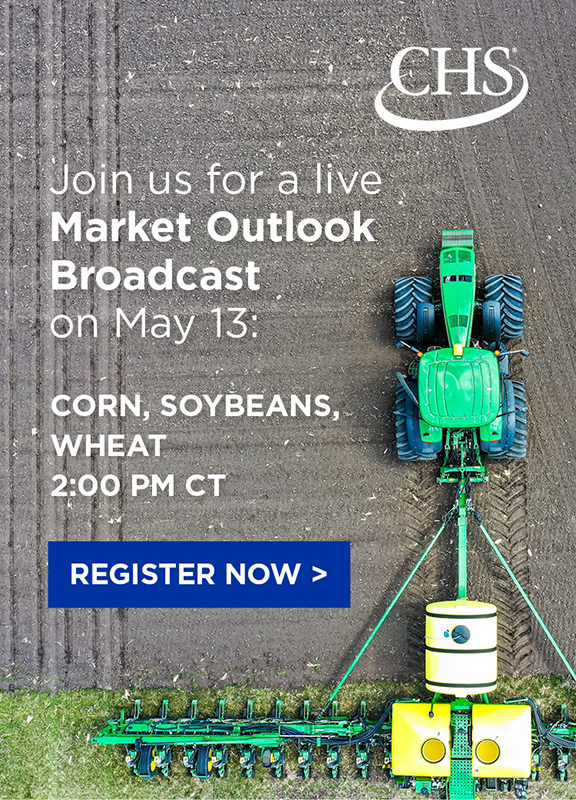 Join us for a live Market Outlook Broadcast on may 13, 2021 at 2 pm CT: corn, soybeans, wheat. Register now. Popup banner.